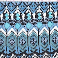 Black/Cadet/Turquoise Ikat Diamond Rayon Challis