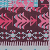 Maroon/Turquoise Tribal Stripe Rayon Crepe