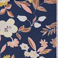 ITY Dark Blue/Apricot Floral Nylon Jersey Knit