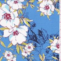 ITY Blue Sketch Floral Nylon Jersey Knit
