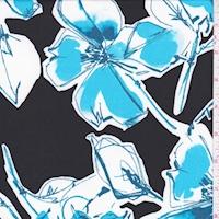 ITY Black/Aqua Scribble Floral Nylon Jersey Knit