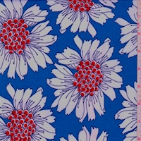 ITY Blue/White/Red Bold Floral Nylon Jersey Knit