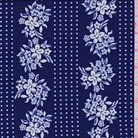 ITY Violet Blue/White Floral Stripe Nylon Jersey Knit