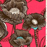 ITY Pale Red/Black Bold Floral Nylon Jersey Knit