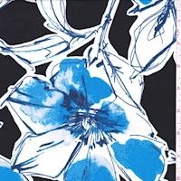 ITY Black/Royal Scribble Floral Nylon Jersey Knit
