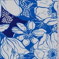 ITY Royal/White Sketch Floral Nylon Jersey Knit