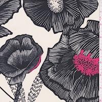 ITY Ecru/Black Bold Floral Nylon Jersey Knit