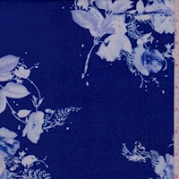 ITY Sapphire/White Floral Cluster Nylon Jersey Knit