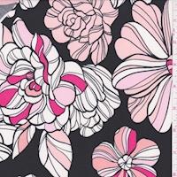 ITY Black Fun Floral Nylon Jersey Knit