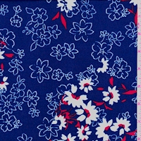 ITY Jewel Blue/White Floral Nylon Jersey Knit