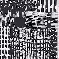 ITY White/Black Printed Block Nylon Jersey Knit