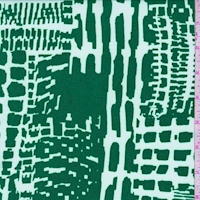 ITY Spruce Blue/White Printed Block Nylon Jersey Knit