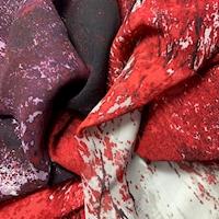 Ruby/Ivory/Stone Striated Silk Chiffon