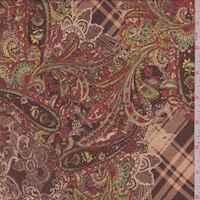 ITY Mocha/Beige Paisley Plaid Jersey Knit