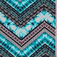 ITY Aqua/Black/White Deco Zag Jersey Knit