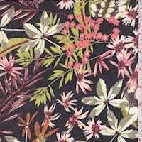 *2 YD PC--Black Multi Tropical Floral Chiffon