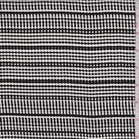 Black/White Deco Stripe Silk Crepe de Chine