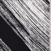 Black/White Brush Stroke Diagonal Stripe Silk Crepe de Chine
