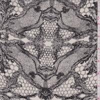 Ivory/Onyx Lace Print Silk Crepe de Chine