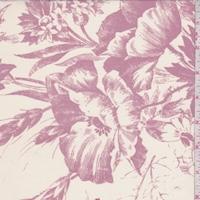Pearl/Dusty Mauve Sketch Floral Silk Crepe de Chine
