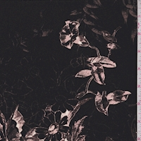Black/Mocha/Beige Sketch Floral Silk Crepe de Chine
