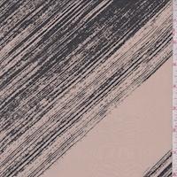 Beige/Slate Brush Stroke Diagonal Stripe Silk Crepe de Chine