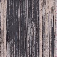 Beige/Slate Brush Stroke Silk Crepe de Chine