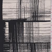 Ecru/Black Brush Stroke Plaid Silk Crepe de Chine