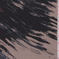 Tan/Black/Slate Abstract Silk Crepe de Chine