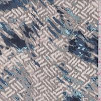 Sage/Blue Broken Wicker Silk Crepe de Chine