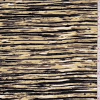 Buff/Ochre/Black Striated Silk Crepe de Chine