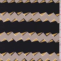 Grey/Black Small Zig Zag Stripe Silk Crepe de Chine