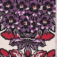 Black/Red/Purple Floral Silk Crepe de Chine
