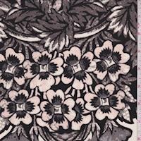 Black/Blush/Pewter Floral Silk Crepe de Chine