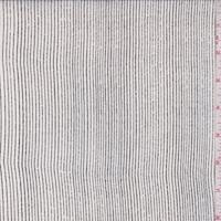 Off White/Black Linear Stripe Silk Chiffon