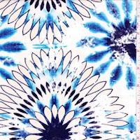Golden Beige/Cobalt Tie Dye Floral Crepon