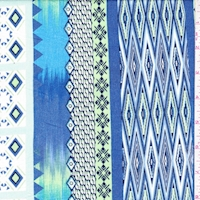 Sky/Ocean/Lime Deco Stripe Crepon