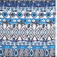 Royal/White/Grey Tribal Stripe Crepon