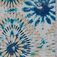 Off White/Pale Gold Tie Dye Floral Crepon