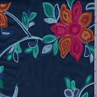 Navy Multicolor Embroidered Floral Rayon Challis