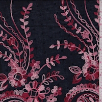Navy/Red/Pink Embroidered Paisley Rayon Challis