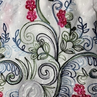 White Multi Embroidered Floral Scroll Rayon Challis