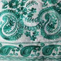 White/Aqua Green Embroidered Paisley Rayon Challis