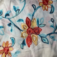 Pale Ivory Multi Embroidered Floral Rayon Challis