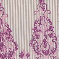 Tan/Pink Stripe Embroidered Floral Scroll Rayon Challis