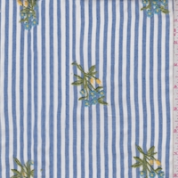 Blue/White Stripe Embroidered Floral Rayon Challis