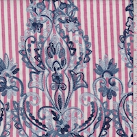 Light Red/Blue Stripe Embroidered Floral Scroll Rayon Challis