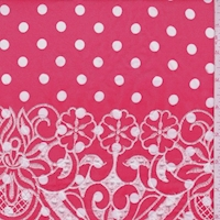Bright Red/White Dot Embroidered Floral Rayon Challis
