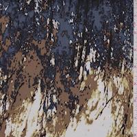 Ivory/Camel/Slate Blue Striated Silk Charmeuse