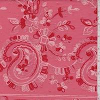 Coral Embroidered Paisley Rayon Challis